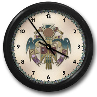 Bird Man Round Acrylic Wall Clock - From our Southwestern Clocks category, this clock features a Native American thunderbird symbol.  $38.00