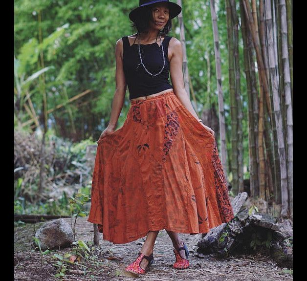Boho Skirts – maxi skirt, patchwork skirt orange patchwork skirt – a unique product by earthernwear on DaWanda
