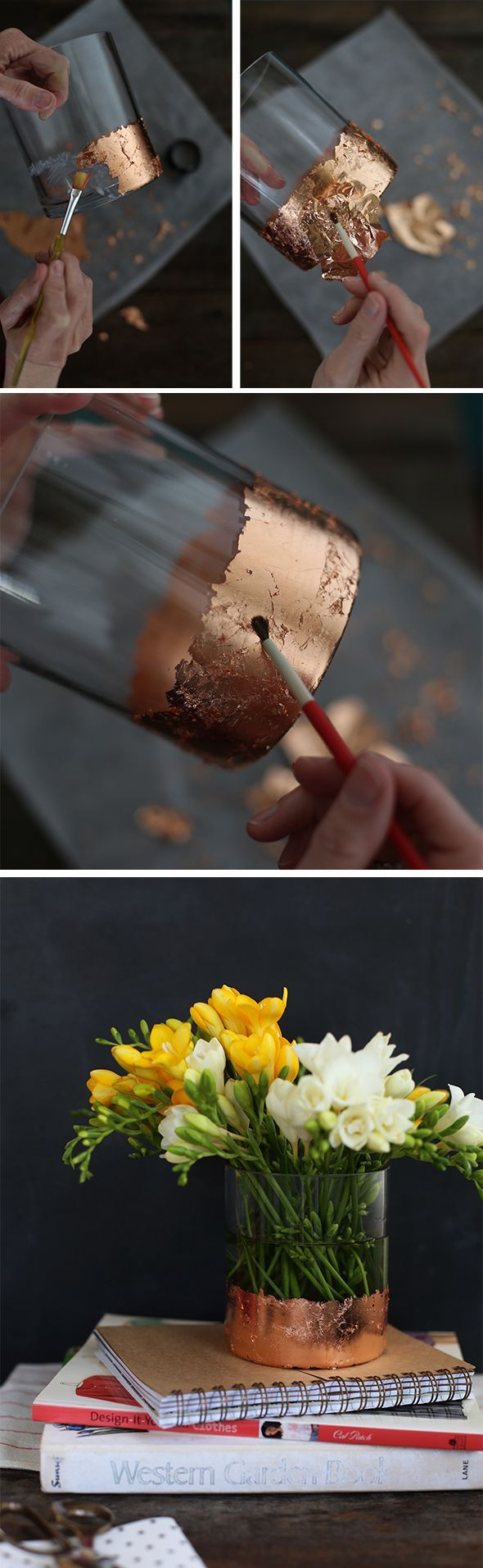 DIY Gold Leaf Vase - this would be perfect for the vases i used for party decorations
