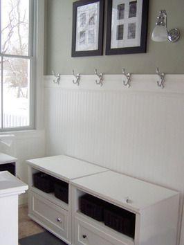 Bathroom beadboard with hooks