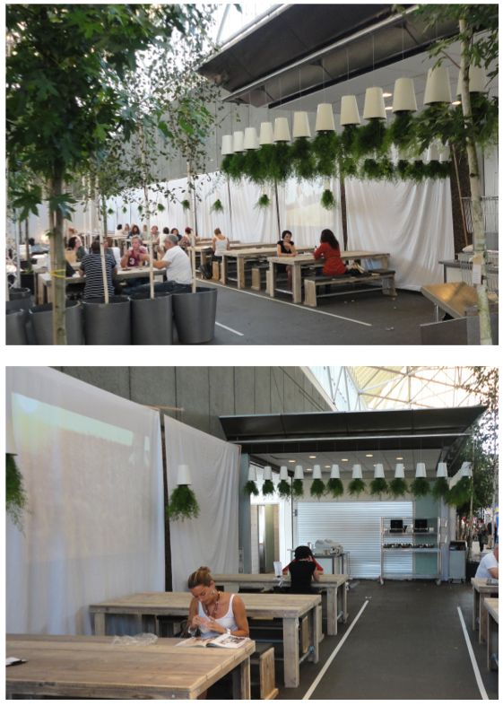 Woonbeurs - Amsterdam Homeshow (Cafe)  Sky Planters brought the cafe areas of Woonbeurs to life, enhancing the space with greenery.
