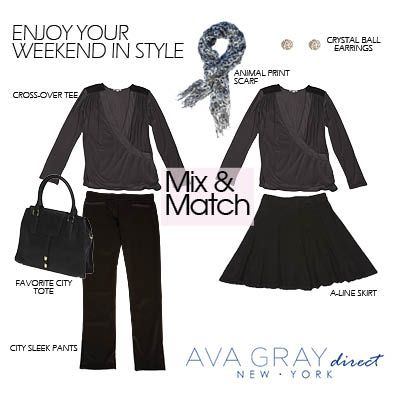 """Mix and Match our """"Cross Over Top"""" with our City Sleek Pants and our A-Line Skirt-- Both looks can we wore day to night, and are perfect for most any occasion!  #AvaGrayDirect #FashionTips #StyleGuide #ootd"""