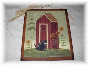 Amazon Com Warren Kimble Outhouse With Cat Country Bathroom Sign Bath Decor Home