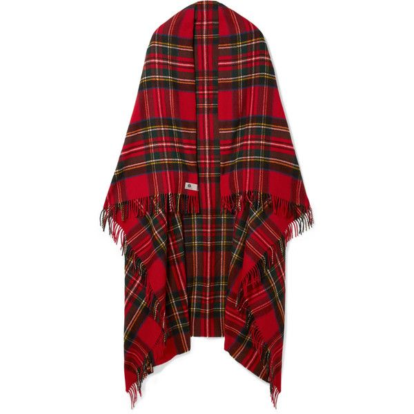 we11done Fringed plaid merino wool scarf ($425) ❤ liked on Polyvore featuring accessories, scarves, woven scarves, merino scarves, tartan scarves, plaid shawl and plaid scarves