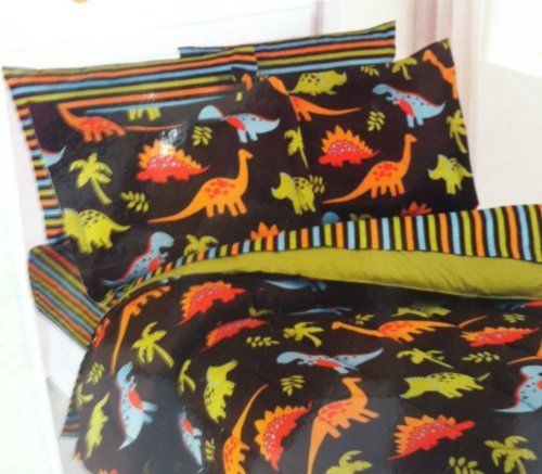 Dinosaur Stomp Full Size Bed In A Bag 7 Piece Bedding