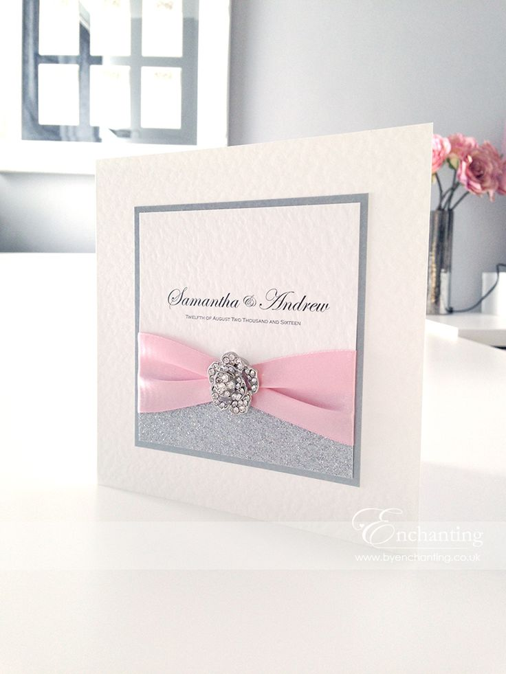 Pink Sparkly Wedding Invitations | The Cinderella Collection   Classic Fold  Invitation | Featuring Silver Glitter