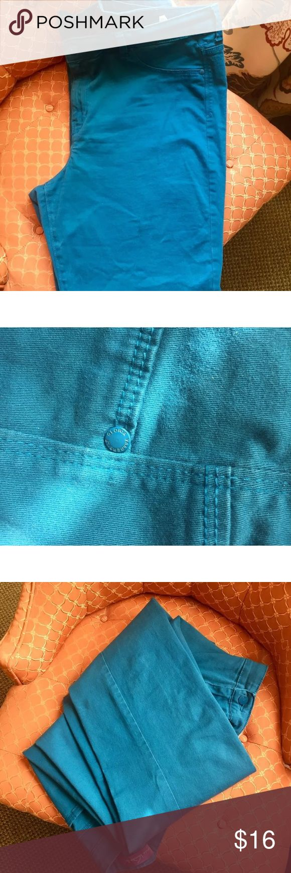 Gloria Vanderbilt Turquoise Jeans Size 18 Plus Pretty and Comfy Turquoise Gloria Vanderbilt Jeans  • Cotton with a little bit of Spandex for Stretch and Comfort  • Size 18  • Pre-loved but in great condition.  • No Animals/Smoke Gloria Vanderbilt Jeans Boot Cut