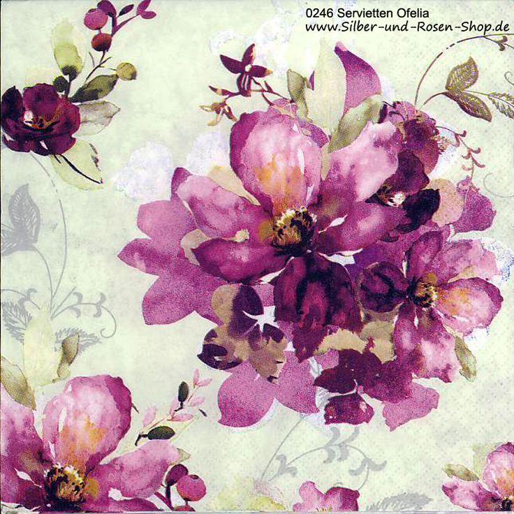 Papierservietten Ofelia lila Blüten