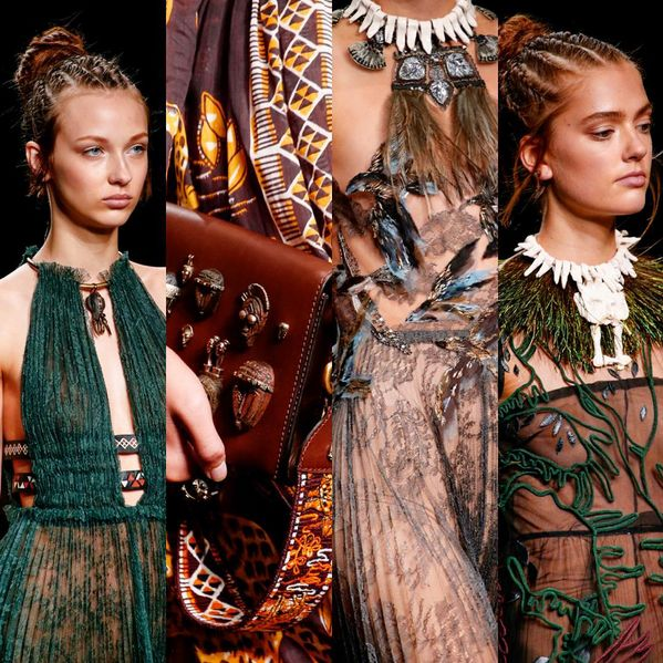 A cross culture fusion was gorgeously presented at @maisonvalentino SS16. Between a heartfelt African story and the glamour of Italy, they met in the textiles and the way Roman influences Chiuri and Piccioli segued into tribal treatments.  Masai derived patterns, bold peacock leather trims, ebony shoe heels, tie dye patterns collided with lace and Italian cuts which results in frivolous and joyful cultured collection. #PFW