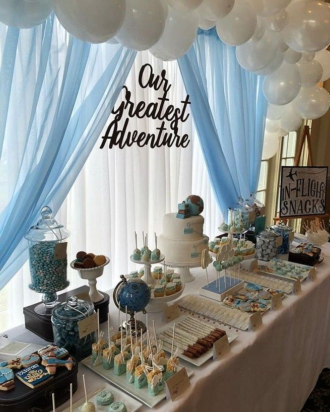 Baby Shower Ideas For Boys Decorations Theme Parties 50 Www Naiep Com Airplane Baby Shower Adventure Baby Shower Travel Baby Shower Theme