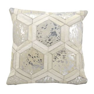 Michael amini by nourison white silver throw pillow 20 inch square home is where avi is Master bedroom throw pillows