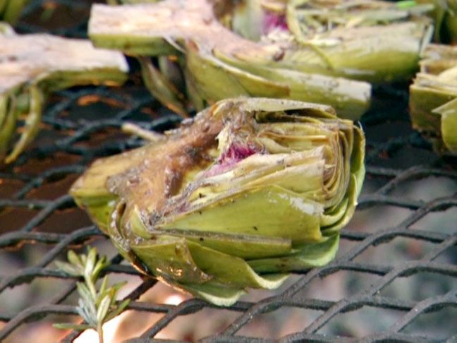 These are divine. No dipping sauce needed, but I like them with a little lemon mayo too. Artichoke BBQ Recipe from FoodNetwork.com