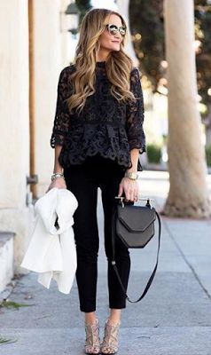 All black outfit - lace, peplum top, skinny pants, bag & nude, caged heels.