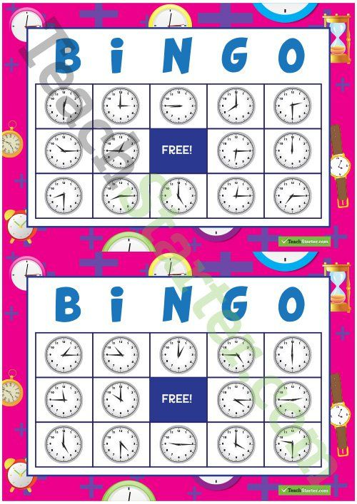 Telling the Time Bingo – Hour, Half-hour, Quarter To and Quarter Past Teaching Resource