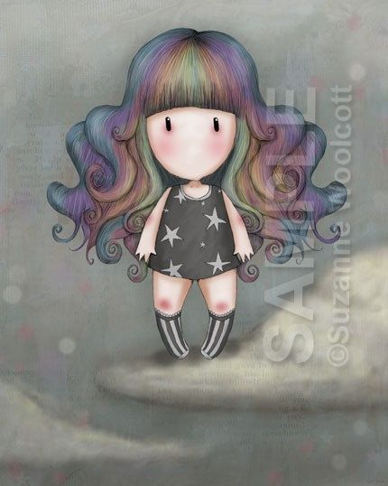 Rainbow Girl - 8 x 10 Giclee Fine Art Print - Gorjuss Art. $18.00, via Etsy.