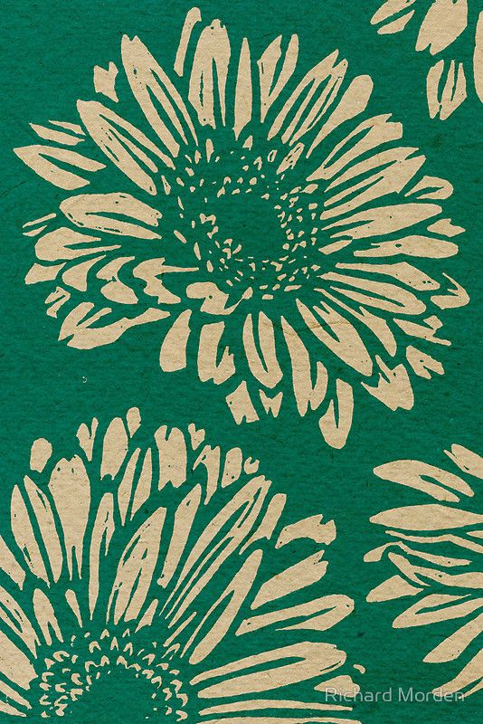 Gerbera linocut – gerberas are so obvious, but fun all the same - designed as a gift card.