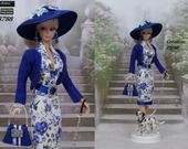 "Robe Barbie "" Éléonore + son chien "" Tenue pour poupée Barbie Silkstone Fashion Royalty f3788"