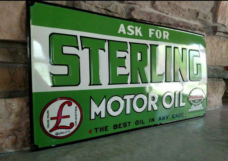 Original Sterling Motor Oil Embossed Tin Sign