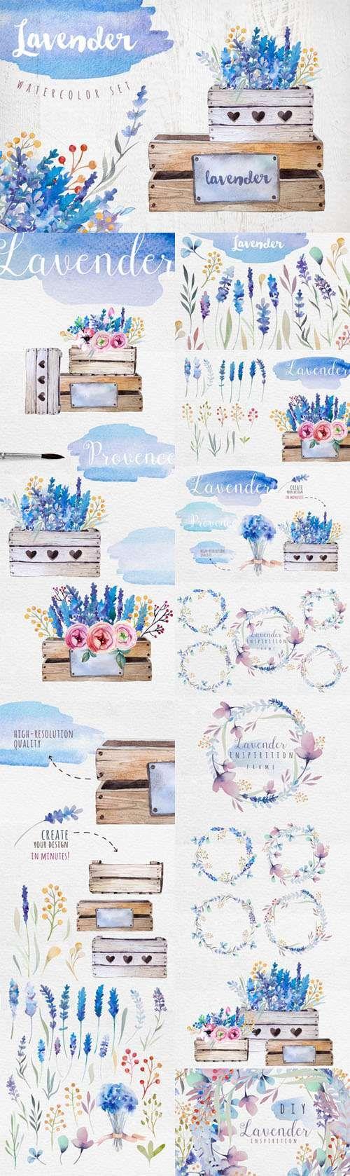 Creativemarket - Lavender watercolor DIY 339663