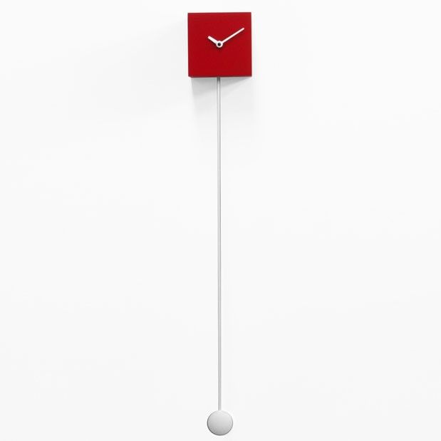 Long Time Pendulum Clock - designer red wooden cube wall clock