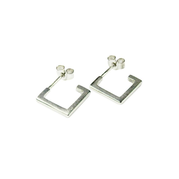 Square Hoops Silver