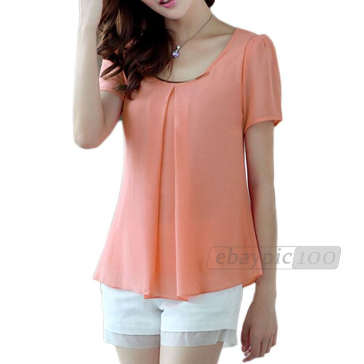 Blusa Gasa Mangas Cortas Colores para Mujer Chica Moda Primavera