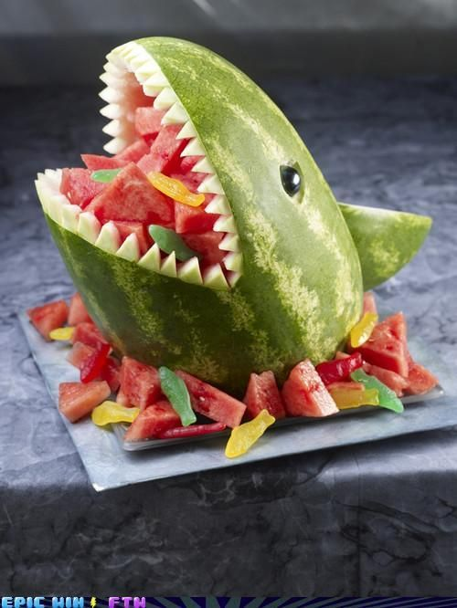 Fruit Shark. I don't know how people come up with some of these ideas. This one is sure to get smiles from the little ones at a family gathering or picnic.