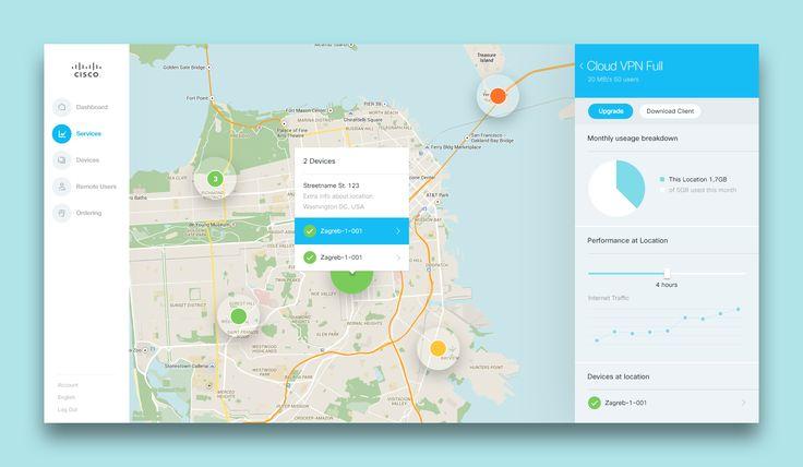 Cisco App Dashboard Devices Map | Web User Interface Design