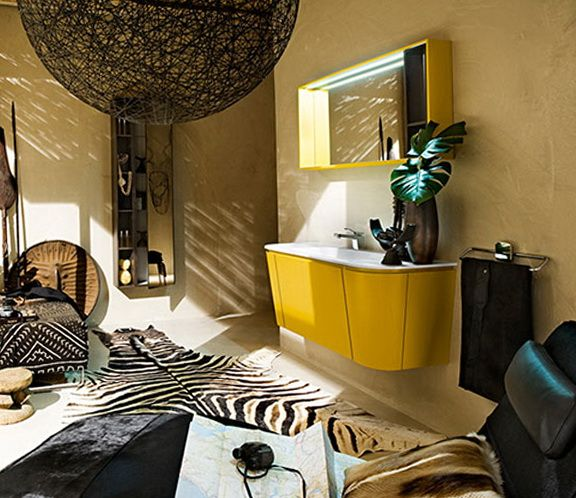 African Zibra Bathroom Decor | Simple And Functional Cupboard Under The  Sink Is So Capacious That. Gelb BadezimmerBadezimmer ...