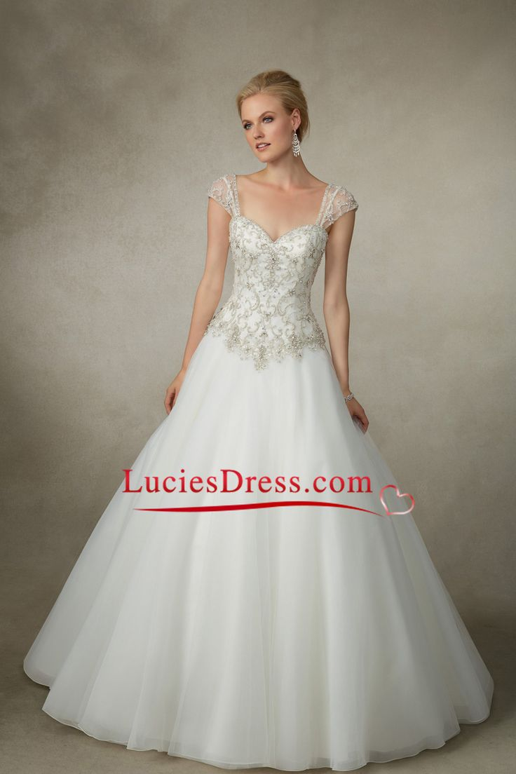 2016 Off The Shoulder Wedding Dresses A Line Beaded Bodice Organza Sweep Train