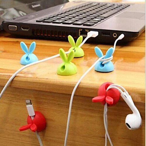 Drhob 4PCS Rabbit ears Multipurpose Cable Drop Wire Cable Drop Clips Holder Organizer