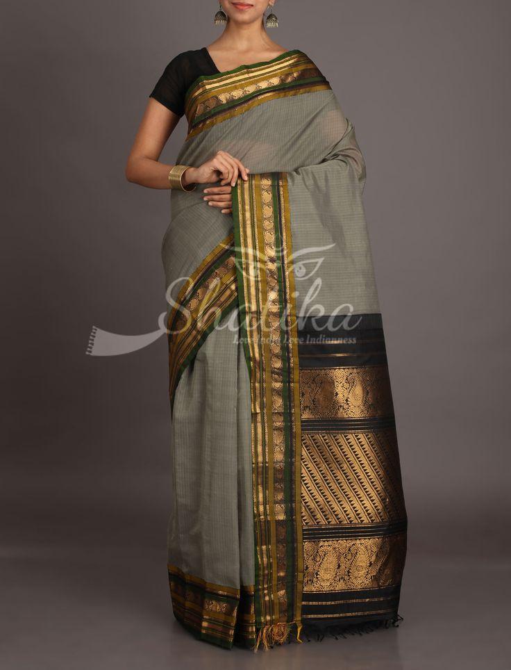Anupama Grey With Striking Bold Black And Gold Ornate Border Pallu Pure Gadwal Silk Cotton Saree