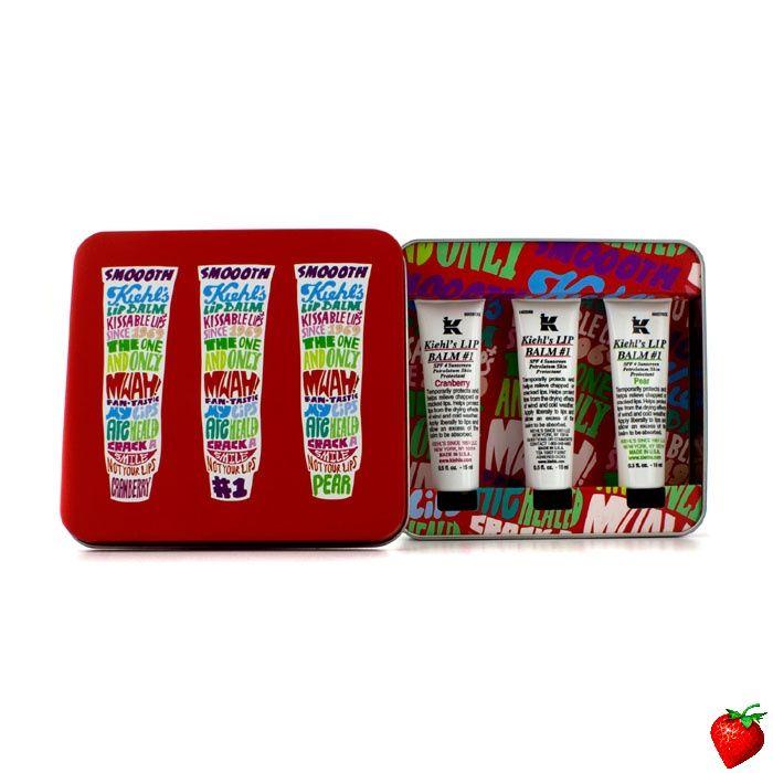 Kiehl's Lip Balm #1 Trio: Lip Balm #1 Cranberry 15ml/0.5oz + Lip Balm #1 15ml/0.5oz + Lip Balm #1 Pear 15ml/0.5oz 3x15ml/0.5oz #Kiehl's #Skincare #LipBalm #Valentines #FREEShipping #StrawberryNET #Love #Giveaway