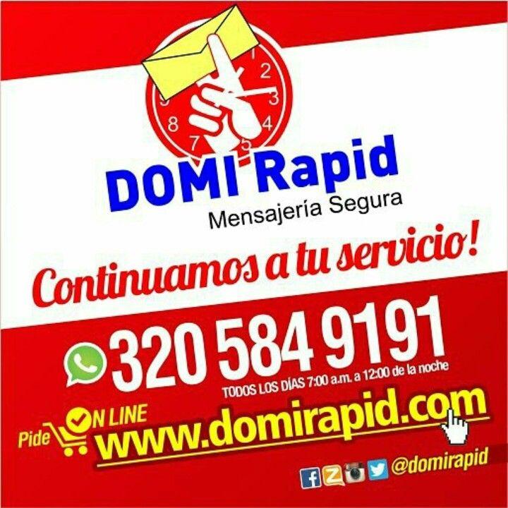 GRACIAS A NUESTROS CLIENTES por elegirnos Somos la #1 de Valledupar.  COMPRAS, PAGOS, CONSIGNACIONES y ENVIOS HORARIO: TODOS LOS DIAS 7AM - 12NOCHE  3205849191 (Whatsapp)  3173575070  3014948484  0355896774  0355897770 PIN. 7A1E7EAB PIN. 7B484FCD Zello: DOMI Rapid  Twitter:@domirapid  Instagram: @domirapid Facebook: Domirapid Mensajería Segura VALLEDUPAR PEDIDOS ON LINE  www.domirapid.com