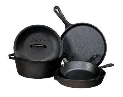 Amazon.com: Lodge 5-Piece Cast Iron Cookware Set, Black: Kitchen & Dining
