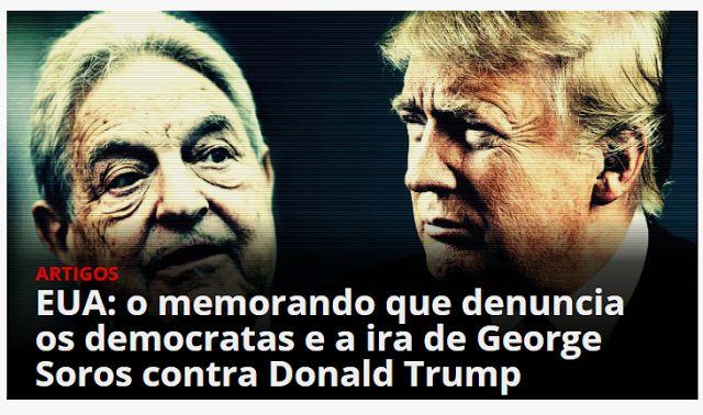 EUA: o memorando que denuncia os democratas e a ira de George Soros contra Donald Trump 2018 a 2020