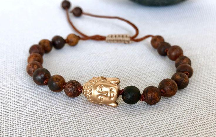 Buddha mala bracelet brown agate bracelet aged agate mala bracelet yoga bracelet meditation bracelet gemstones bracelet prayer beads mala by Katiaicrafts on Etsy