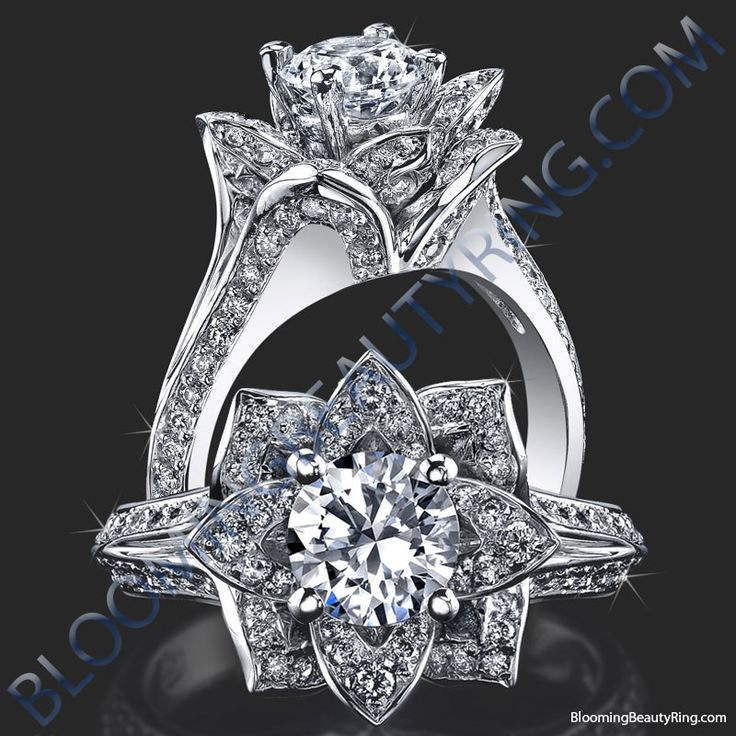Lotus Flower Engagement Rings .. Umm yes please, but maybe with a different colour stone in main bracket