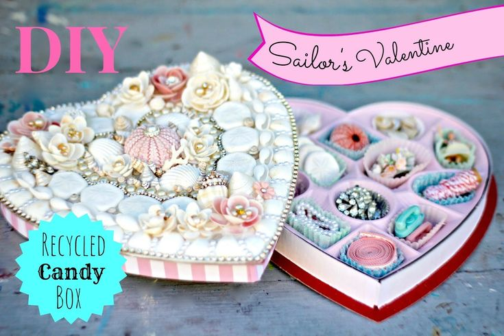 Make a Sailors Valentine with Seashells and a recycled candy box