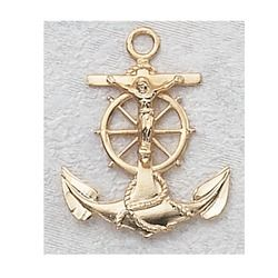 Anchored in Faith! Gold/Sterling Silver Anchor Crucifix with 24 inch chain Item #: 2033065 Price: $39.95 #CatholicCompany