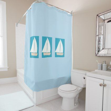 Light Blue Shower Curtain With White Sailboats