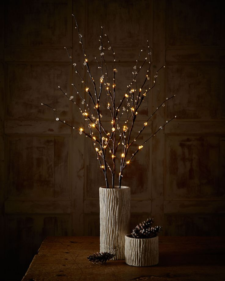 Lighted Twigs Home Decorating: Branches, Fabric Lampshade And Front Door Decor