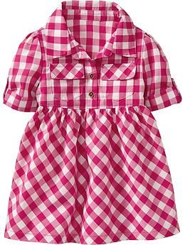 Printed Shirtdresses for Baby, this would be adorable for Carly's farm themed 2nd bday party