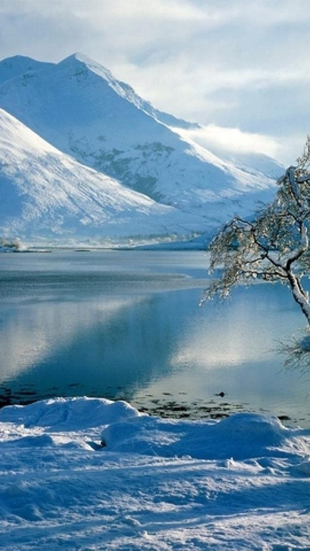 winter, lake, paisajes, snow, mountain, Nature