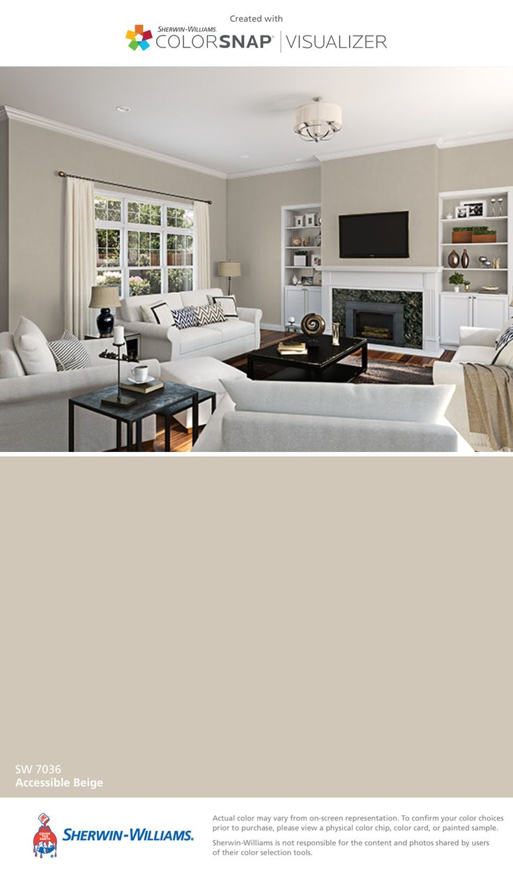 I found this color with ColorSnap® Visualizer for iPhone by Sherwin-Williams: Accessible Beige (SW 7036).