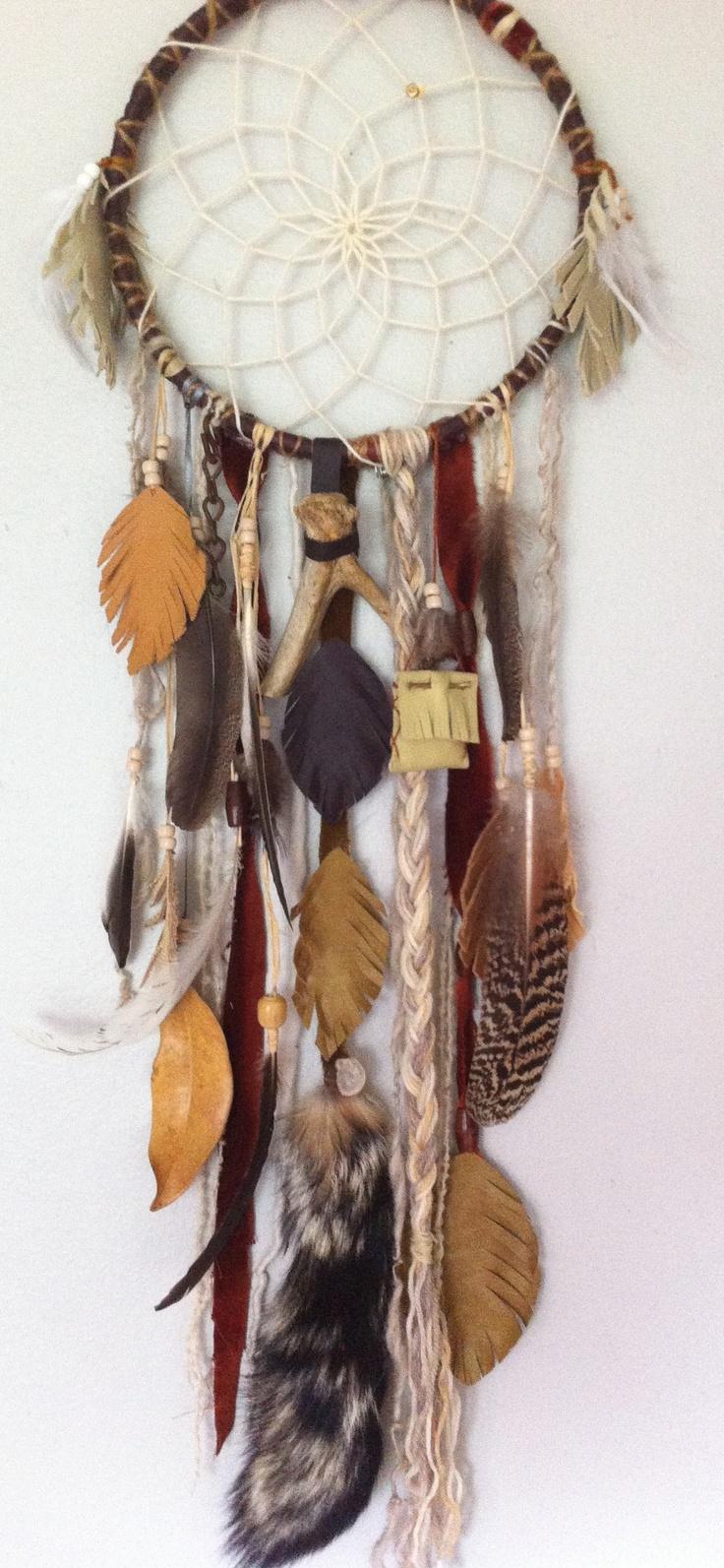dreamcatcher with sleep medicine mojo bag and deer antler by rachael rice http://rachaelrice.com/art/custom-orders