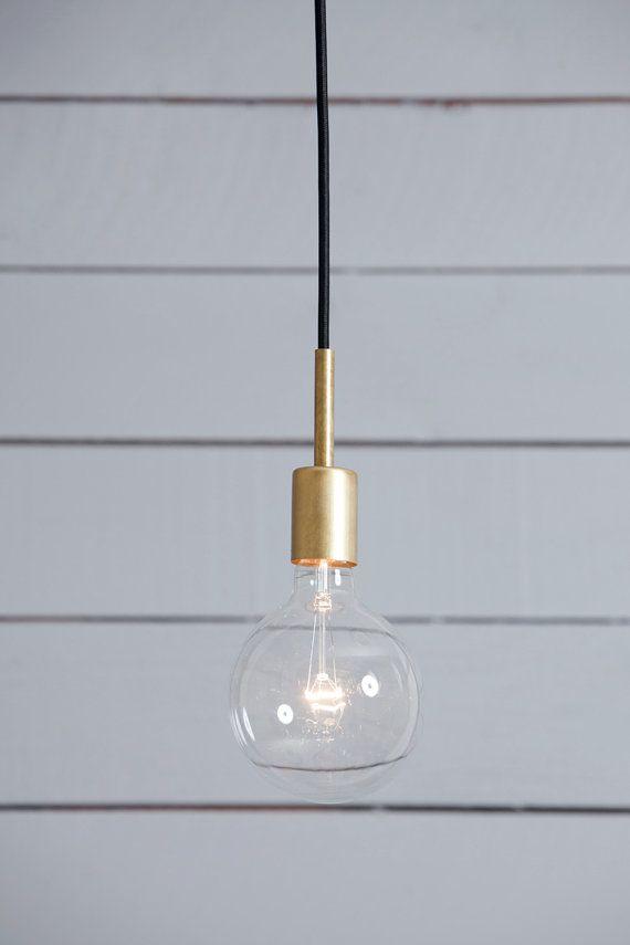 Brass Pendant Light  Mid Century by IndLights on Etsy
