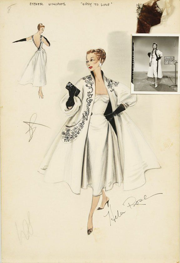 Costume design sketch for Esther Williams by Helen Rose for Easy to Love (1953)