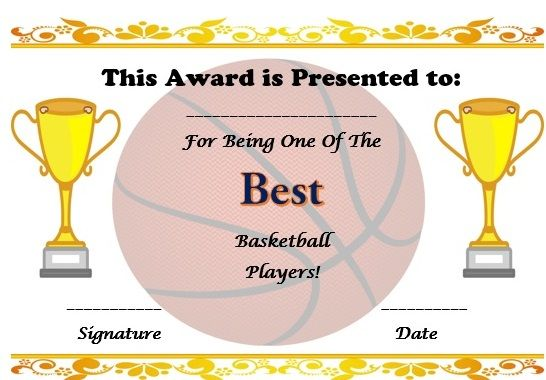 Free Basketball Certificate Template | Basketball Certificate