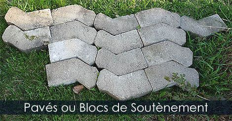 Pavés unis - Blocs de béton - Blocs de soutènement en béton - Matériaux pour paver une allée ou un trottoir au jardin. Instructions: http://www.jardinage-quebec.com/guide/poser-des-paves/pose-de-paves-2.html